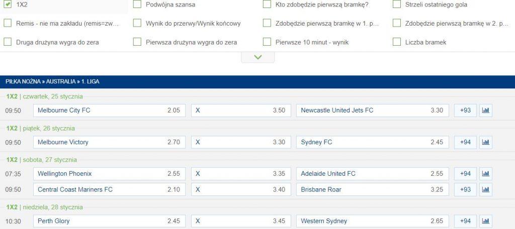 Liga australijska mecze online