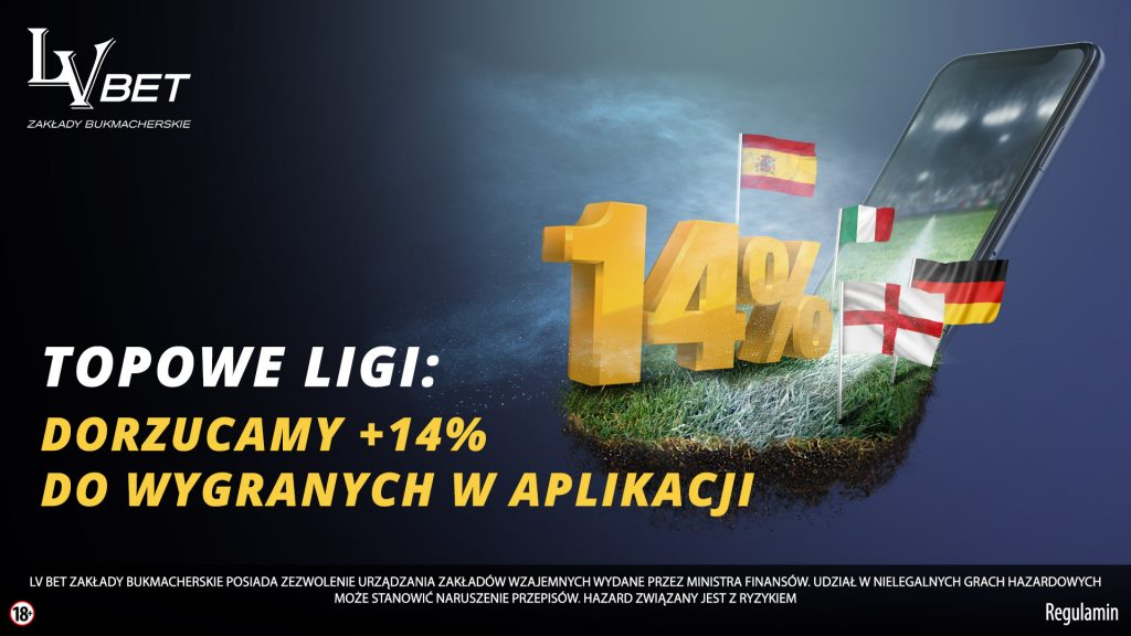Promocja w LVbet. Bonus 14% na topowe ligi!