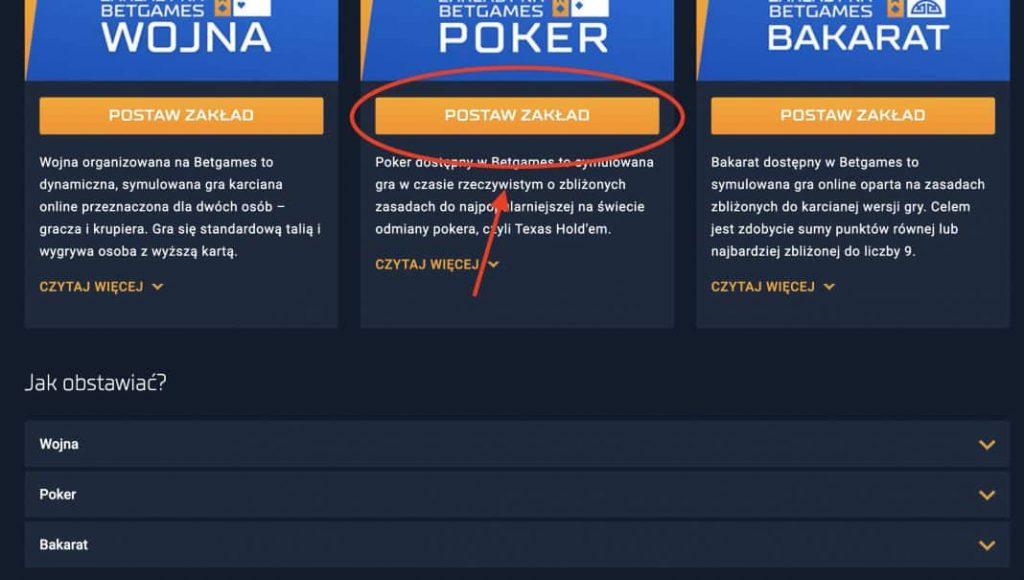 Granie w pokera w STS online. Krok 2